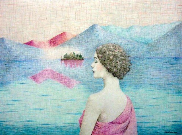Fata Morgana, 2015, kleurpotlood op geschept papier, 83 x 63 cm.