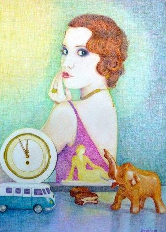 Magic rush, 2015, kleurpotlood op geschept papier, 42 x 56 cm.