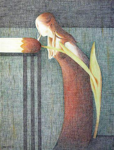 Chercher les Pays-Bas, 2016, kleurpotlood op papier, 50 x 65 cm.