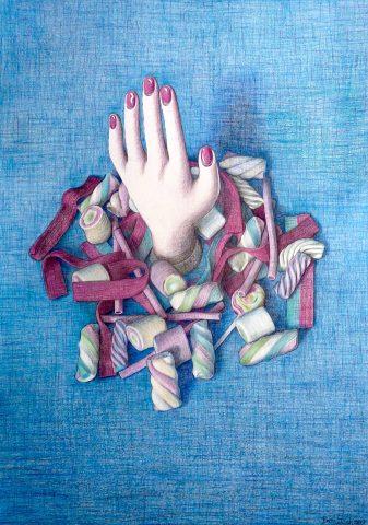 Summer Sugar, 2017, kleurpotlood op papier, 41 x 58 cm.