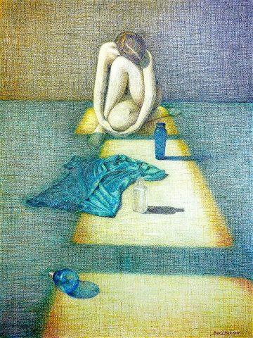 Honey Blue Shelter, 2015, kleurpotlood op geschept papier, 42 x 55,5 cm.