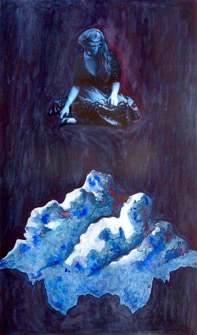 The Cloudwatcher, 2018, waterverf, kleurpotlood, foto collage op papier, 40 x 70 cm.