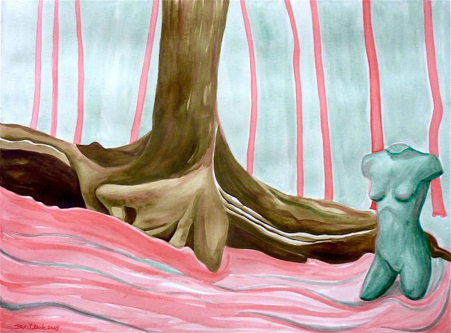 Venus Hill, 2018, waterverf en kleurpotlood op papier, 42 x 57 cm.