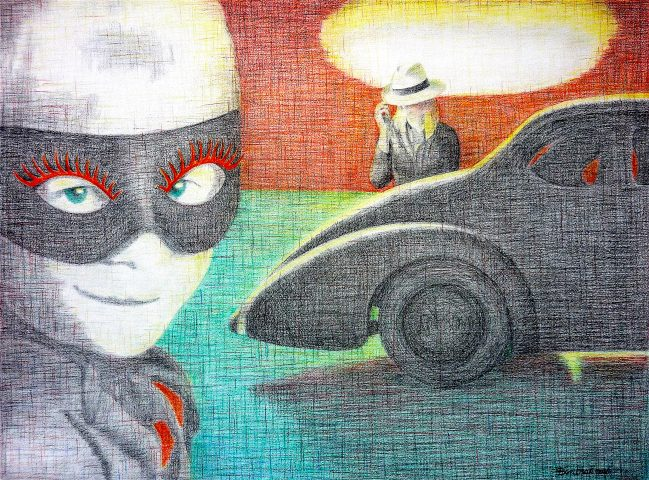 Au Revoir Nuage Noir, 2016, kleurpotlood op geschept papier, 55 x 40 cm.