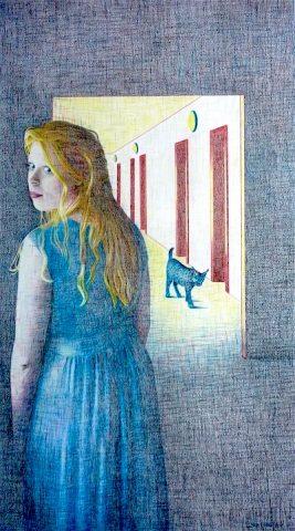 The Blue Lynx, 2016, kleurpotlood op papier, 46 x 82 cm.