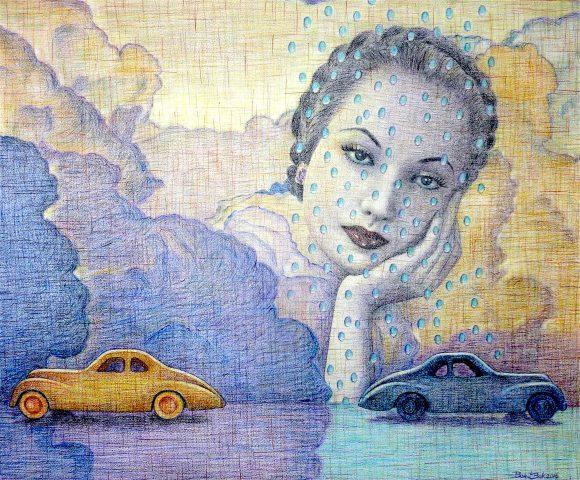 Toy Blues, 2016, kleurpotlood op geschept papier, 54 x 44 cm.