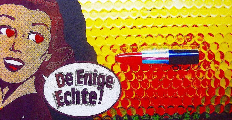 De Enige Echte! (een beetje van mezelf), september 2018, collage op papier met mixed media techniek, 31 x 60 cm.