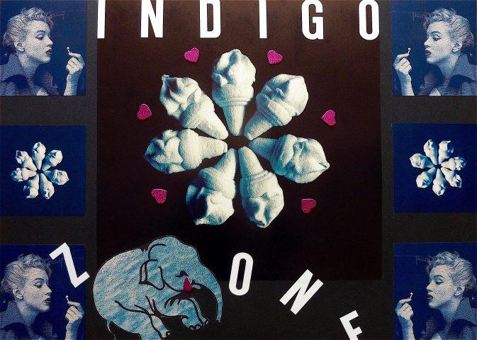 Indigo Zone, 2018, collage op papier met mixed media techniek, 50 x 70 cm.