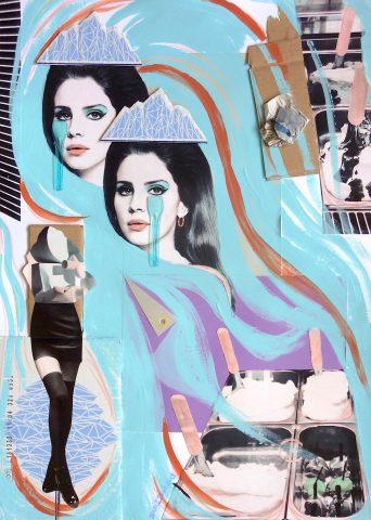 <p><strong>Scoop Dream</strong></p> <p><em>Scoop Dream, maart 2019, mixed media op wit papier (print, acrylverf, waterverfstift, karton, krantenpapier, plastic), 60 x 80 cm.</em></p> <p><em>Collage geïnspireerd op en samengesteld met eigen beeld en beeld uit magazines.</em></p> <p><em>Mijn ode aan Lana Del Rey.</em></p>