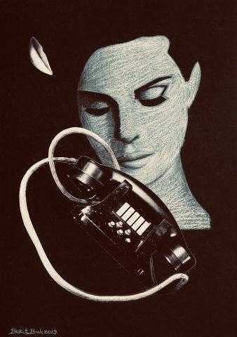 <p><strong>Eavesdrop</strong></p> <p><em>Eavesdrop, oktober 2019, kleurpotlood, pastelkrijt en collage op zwart papier, 30 x 42 cm</em>.</p>