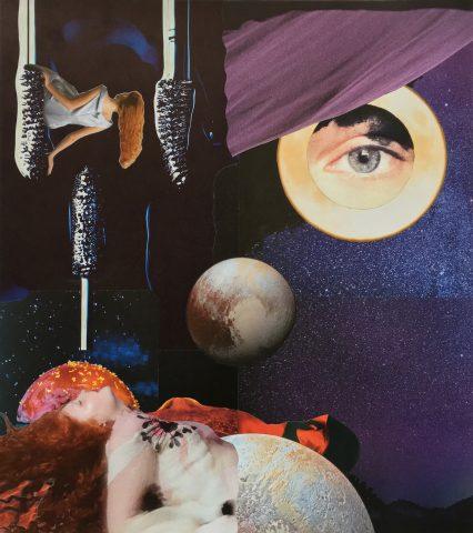 <p><strong>Cosmic Birth</strong></p> <p><em>Cosmic Birth, oktober 2020, print, aquarelstift op papier, 40 x 45,5 cm. Collage geïnspireerd op en samengesteld met beeld uit magazines.</em></p>