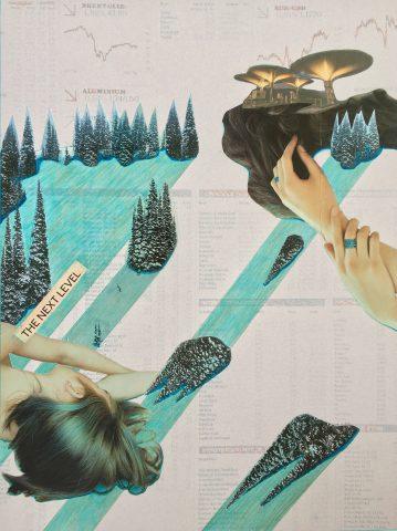 <p><strong>The Next Level</strong></p> <p><em>The Next Level, oktober 2020, magazinepapier, krantenpapier, print, aquarelstift, kleurpotlood op papier, 41,5 x 56 cm. Collage geïnspireerd op en samengesteld met beeld uit magazines en kranten.</em></p>