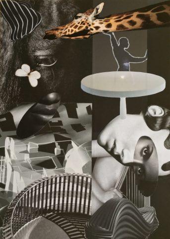<p><strong>Balancing Act</strong></p> <p><em>Balancing Act, november 2020, magazinepapier, aquarelstift op papier, 36 x 50,5 cm. Collage geïnspireerd op en samengesteld met beeld uit magazines.</em></p>