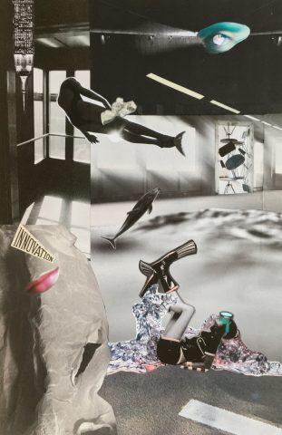 <p><strong>Bundle of Joy</strong></p> <p><em>Bundle of Joy, november 2020, magazinepapier, aquarelstift, acrylstift, kleurpotlood op papier, 32 x 49 cm. Bevat fragment uit een krant van 1926. Collage geïnspireerd op en samengesteld met beeld uit magazines en kranten.</em></p>