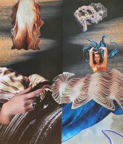 <p><strong>Protégé</strong></p> <p><em>Protégé, november 2020, magazinepapier, aquarelstift op papier, 41,5 x 48 cm. Collage geïnspireerd op en samengesteld met beeld uit magazines.</em></p>