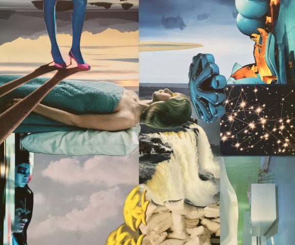 <p><strong>Dreamcatchers</strong></p> <p><em>Dreamcatchers, november 2020, print, aquarel stift op papier, 45 x 37,5 cm. Collage geïnspireerd op en samengesteld met beeld uit magazines.</em></p>