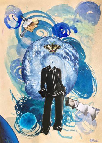 <p><strong>Butterfly & Hurricane</strong></p> <p><em>Butterfly & Hurricane, april 2021, collage; magazinepapier, aquarelverf, kleurpotlood op 250 grams naturel papier (dubbel), 29,7 x 42 cm.Collage geïnspireerd op en samengesteld met beeld uit magazines.</em></p>
