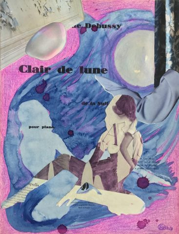 <p><strong>Clair de lune</strong></p> <p><em>Clair de lune, april 2021, collage; magazinepapier, waterverf, acrylverf, kleurpotlood op oud muziekboek cover gelijmd op 250 grams naturel papier, 29,7 x 42 cm. Collage geïnspireerd op en samengesteld met beeld uit magazines.</em></p>