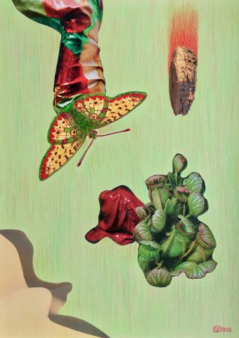 <p><strong>Jitterbug</strong></p> <p><em>Jitterbug, april 2021, collage: magazinepapier, kleurpotlood, India inkt op naturel papier, 29,7 x 42 cm. Collage geïnspireerd op en samengesteld met beeld uit magazines.</em></p>