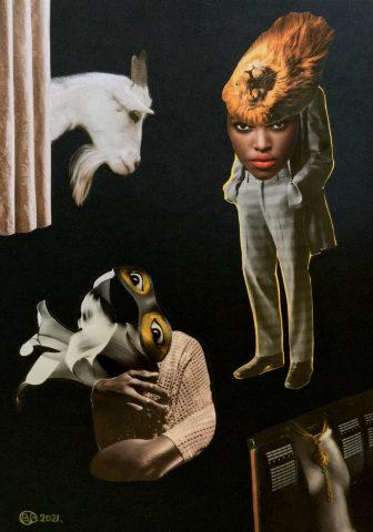 <p><strong>Liberty Belle</strong></p> <p><em>Liberty Belle, april 2021, collage: magazinepapier, India inkt, kleurpotlood op zwart papier, 29,7 x 42 cm. Collage geïnspireerd op en samengesteld met beeld uit magazines.</em></p>