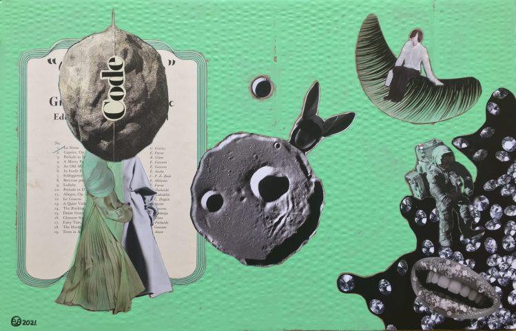 """<p><strong>""""Dress Code Cassini""""</strong></p> <p><em>""""Dress Code Cassini"""", mei 2021, collage; magazinepapier, muziekpapier (1917), acryl verf, waterverf, India inkt, valse briljant, op gebruikt dik karton, 38,5 x 59,5 cm. Collage geïnspireerd op en samengesteld met beeld uit magazines en kranten.</em></p>"""