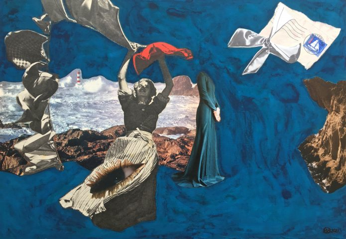 <p><strong>The Visionary</strong></p> <p><em>The Visionary, mei 2021, collage; magazinepapier, oud krantenpapier (1949/1961/1970), postzegel op envelop, waterverf, India inkt, op gebruikt dik karton, 31,5 x 45 cm. Collage geïnspireerd op en samengesteld met beeld uit magazines en kranten.</em></p>